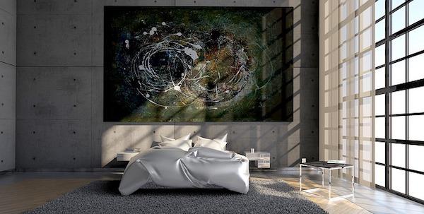 Moderne slaapkamer met kunst